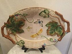 Fitz And Floyd Old World Rabbits 19 Oval Handled Serving Platter. Discontinued.