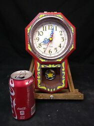 Hand Painted Circus Style Wall Clock,odd,psychedelic,ooak,weird,oddity,art,wow