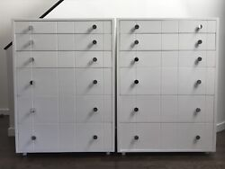 Mid Century Modern Pair Of White And Chrome Dressers