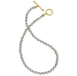 Unique Platinum And 18k Solid Yellow Gold Rolo Necklace Toggle T-bar And Sapphires