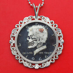 Us 1966 Kennedy Half Hobo Nickel Style Skull Face 925 Sterling Silver Necklace