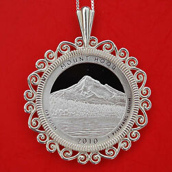 2010 Oregon Mount Hood National Park 90 Silver Coin Sterling Silver Necklace