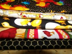 ROOSTER chicken cow FARM Cotton quilt FABRIC U Pick SEE INFO 1 2 yd BTHY