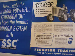 Vintage Ferguson System Advertising -  30 Tractor And Ssc Hydraulics - 1952