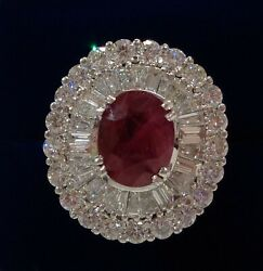 Large Ruby and Diamond Cluster Ring 18ct White Gold - Quality! - Size Q (US 8)