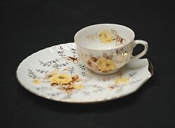 Vintage Porcelain Snack Shell Shaped Plate And Cup Set Yellow Rose Gold Trim Japan