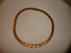 Vintage Heavy Beautiful Unique Italy Solid 14k Yellow Gold 16.25 L Necklace