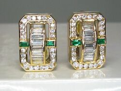 Charles Krypell 2.85 Ctw Emerald And Diamond F-vvs 18k Yellow Gold Earrings