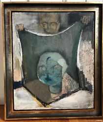 Listed Painting Marie Paneth WW2 Era Artist Macabre Magician Woman Man Portrait