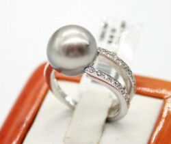 18k White Gold Vintage 12mm Tahitian Pearl Cocktail Ring With Diamonds Size 4