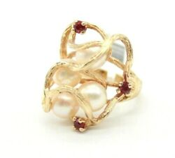 14k Yellow Gold Vintage Rubies And South Sea Pearls Cocktail Ring Size 7