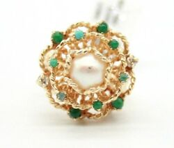 14k Yellow Gold Vintage South Sea Pearl,emeralds And Diamonds Cocktail Ring.size 5
