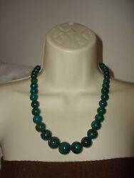 Vintage Solid Green Turquoise Big Beaded Necklace Sterling Silver Closure Clasp