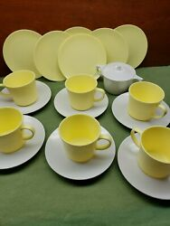 Lot Of 20 Vintage Texas Ware Melamine Yellow And White Cups Saucers Plates Sugar