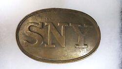 Original U.s. Civil War State Of New York Brass Plate Recovered With Glass Box