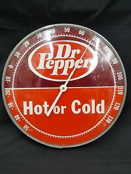 Vintage Dr. Pepper Hot Or Cold Round Covered Thermometer With Glass Front