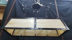 Vintage Stained Glass And Wrought Iron Rectangular Ceiling Fixture Chandelier