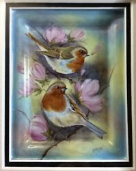 Elliot Hall Enamels Robins Plaque Limited Edition 1220  N. Creed Mint In  Box