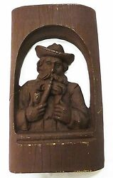 Wood Like Carving Picture Man Smoking Pipe Material Unknow