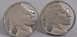 Excellent Mens Coin Art Indian Head Cufflinks Costume Vintage Jewelry O 45