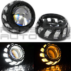 2x Turbine Full Size Shrouds Universal For Hid Xenon Led Projector Bezels Black