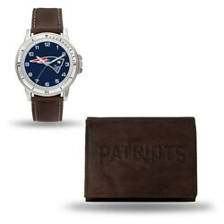 Nfl New England Patriots Leather Watch/wallet Set Style Gc4832 60.90