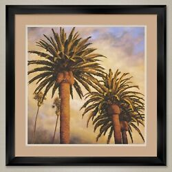 35wx35h Fog Over Canary Palms By Rick Garcia - Double Matte, Glass And Frame