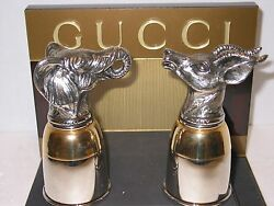 Vintage Gold Plate And Pewter Stirrup Cups Elephant And Antelope Very Rare Fin
