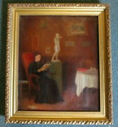 Frederick William Wright Oil Painting Exquisite Interior Listed American Artist