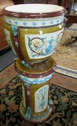 Wedgwood Majolica Pedestal And Jardiniere 1880and039s Monumental 42.5 Antique 2 Pc