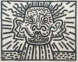 Keith HARING  Original work signed. Sumi ink on paper. 1986. COA  KH Foundation