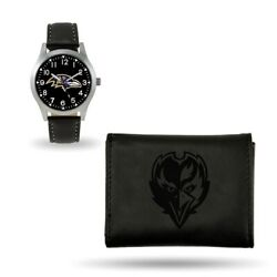 Nfl Baltimore Ravens Leather Watch/wallet Set Style Gc4816 60.90