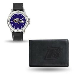 Nfl Baltimore Ravens Mens Leather Watch/wallet Set Style Gc4816 60.90