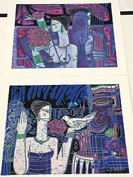 Wong Shueloves Little Gifts And Message On The Wind Serigraph Pair Hand Signed