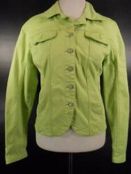 Cool Womenand039s Small A.m.i. Green Denim Long Sleeve Button Jean Jacket Guc