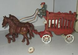 Vintage Unbranded Cast Iron Overland Circus Horse Drawn Wagon Toy White Bear