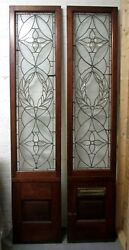Monumental 9 Ft. Pair Beveled Antique Glass Door Sidelights W/10 Jewels 531