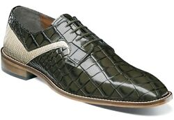 Menand039s Dress Shoes Plain Toe Oxford Olive/straw 2-tone Leather Stacy Adams 25211