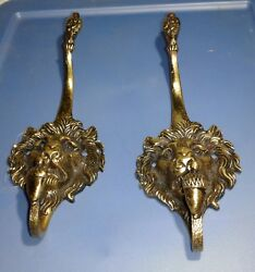 Vtg. Solid Brass Lion Head Vintage Coat And Hat Hook Wall Hangers Made In England