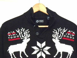 Chaps Nordic style black cotton henley sweater with deer  men M  nice  b38