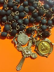 † Antique Catholic Black Seeds Rosary St Anthony Padua Patron Lost And Stolen
