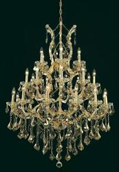 Palace Maria Theresa 28 Light Golden Teak Crystal Chandelier Light In Gold 38x52