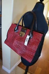 New B - Low The Belt Diana Brown Red Croco Embossd Leather Handbag Purse 600+