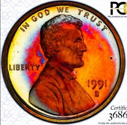 1991 S Pr66 Br Lincoln Penny Cent Proof/rainbow Toning. True View