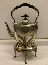 Antique English Victorian Silverplate Kettle On Stand Circa 1890