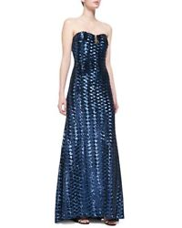 Badgley Mischka Collection Long Strapless Sequin Gown W Mesh-accent Bodice Navy