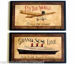 Travel Wall Decor Plaques Fly The World Vintage Airplane And Cruise Ship Pictures