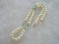 Beautiful 14k Gold Genuine Button Pearl And Polished Aqua Green Gemstone Necklace