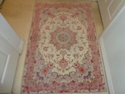 Very Fine Hand Knotted Carpet Silk And Wool 3' 5 X 5' 3 Beautiful Rare Colors