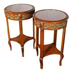 Pair 2 Bronze Mounted Inlaid End Side Tables Coffee Stand Pedestal Nightstand